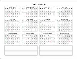 Word 2020 Calendars Free Printable 2020 Yearly Calendar Template Best