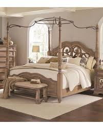 Coaster Ilana Collection 205071KW California King Size Canopy Poster Bed with Carved Scrolls Over Antique Mirrors Camel Back Footboard/Headboard Pine ...
