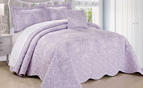 Damask Embroidered Quilt Blanket Bedding Bedspreads & Lavender Fog Damask Embroidered Quilted Bedspread Adamdwight.com