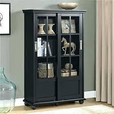 corner oak display cabinet with glass doors shelf black bookcase sliding