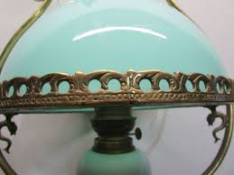 old brass chandelier opaline green globe old oil lamp france middle twentieth