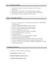 Extra Curricular Activities In Resume Noxdefense Com