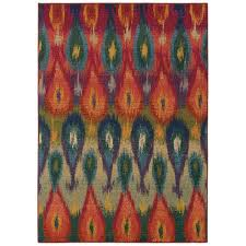 kaleidoscope red rectangular 5 ft 3 in x 7 ft 6 in