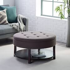 ... Amazing Grey Round Minimalist Fabric Coffee Table Ottoman Design To  Fill Living Room ...