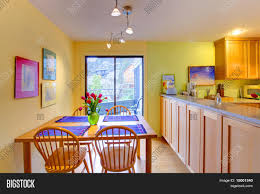 Yellow And Purple Kitchen