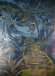 an ancient path to a mysterious door in a tree this part of the mural