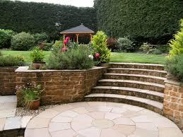 Lawn & Garden:Cottage Garden Design With Wood Stairs Idea Landscape Garden  With Short Stairs