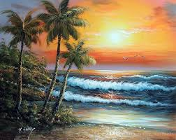 framed hawaii sunset surf beach palm trees sand hand painted seascape art oil painting on thick canvas multi sizes j022 pure hand painted seascape art high
