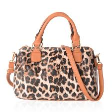 brown leopard pattern faux leather satchel bag 12x5 5x7 5 in with detachable shouler strap 47 in lc