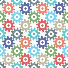 Gear Pattern Fascinating Multicolor Gear Wheels Seamless Pattern Isolated On White Cogs Of