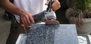 using grinder to polish granite