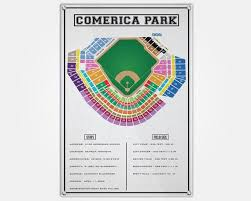 Comerica Park Wood Print Comerica Seat Map Seating Chart Pop Art Wall Decor Man Cave Detroit Tigers Seat Map Comerica Park