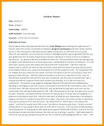 Incident Statement Report Template Car Accident Witness Example
