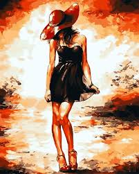 frameless happy girl black dress diy painting by numbers canvas handpainted arts