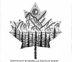 Black tattoo art <b>maple leaf mountain</b> Canadian | Everything | Canada ...