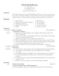 Sample Resume For Medical Office Manager Business Office Manager Sample Resume Podarki Co