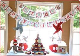 We red white and baby blue sock monkey birthday party   Ideas in blume