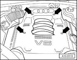 audi a spark plug change procedure sound absorbing panel over 6 cylinder engine removing
