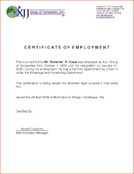 Sample Certificate Letter Of Employment New Best Author Amazing