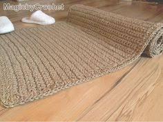 Throw Rug, Natural Fiber Rug, Crochet Jute Rug, Handmade, 4x3 ft,