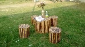 garden wooden coffee table set with 4