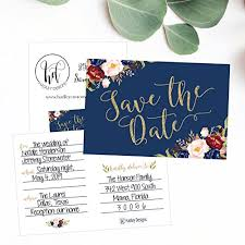 Blank Save The Date Cards 25 Navy Floral Save The Date Cards For Wedding Engagement