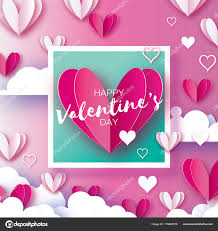 flying love white and pink hearts angel wings in paper cut style romantic holidays clouds on pink square frame valentine text 14 february vector