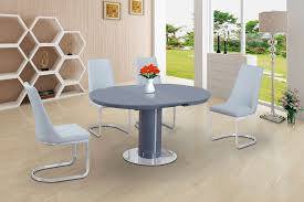 round grey glass high gloss dining table and 6 white chairs set