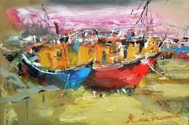 boats at harbour canvas oil marine painting