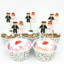 2019 Wedding Cupcake Toppers Groom Bride Cake Toppers Wedding