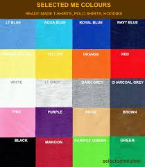 T Shirt Color Chart Polo T Shirts Colour Guide Card Readymade Stocks