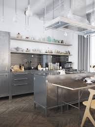 Industrial Kitchen Chrome Cabinets Wooden Open Shelving