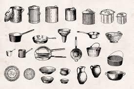 vintage kitchen utensils illustration. Modren Illustration Kitchenware U2013 Vintage Engraving Illustrations 03 With Kitchen Utensils Illustration V
