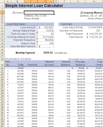 simple interest amortization schedule