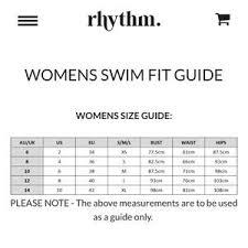 Rhythm Swim Size Chart Rhythm Coral Reef Bandeau Style Swim Top Nwt