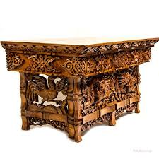 hand carved furniture. Simple Carved Tribe Azure Fair Trade Hand Carved Altar Table Small Meditation Puja  Sheesham Wood Unique Dragon With Furniture