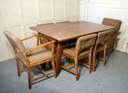 1950s Limed Oak Extending Dining Table And Set Of Six Chairs For