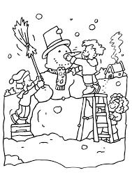 Kleurplaat Sneeuwpop Maken Afb 6546 Images