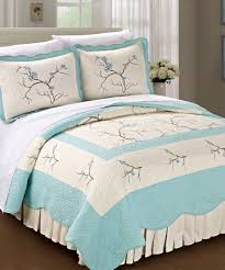 cherry blossom quilted microfiber bedspread set