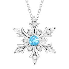 natural blue topaz created white sapphire snowflake pendant in sterling silver