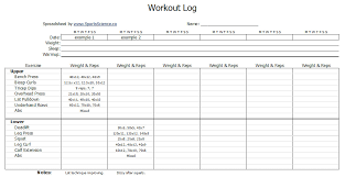 free workout log template