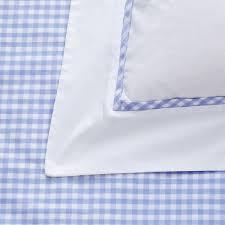 duvet cover with white bib pale blue gingham trim pillowcase