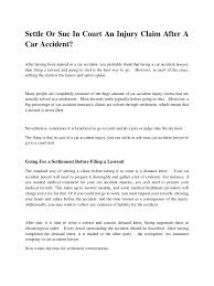 Settle Or Sue In Court An Injury Claim After A Car Accident Pdf