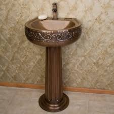 small bathroom sink ideas with vine hammered texture copper bathroom pedestal sink classy pedestal sink