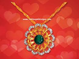 checkout 18k gold designer diamond pendant studded with emerald from khazana jewellers
