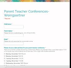 Google Forms For Parent Conference Sign Ups With Automatic Reminders