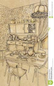 Vintage kitchen furniture Grey Vintage Kitchen With Objects And Furniture Etsy Vintage Kitchen With Objects And Furniture Stock Illustration