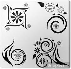 Obraz čtyři Květinové Vzory Tetování Na Plátně
