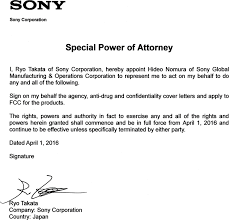 Letter For Power Of Attorney Nwwm1a Digital Music Player Cover Letter Power Of Attorney Sony