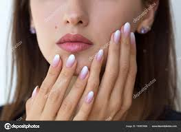 Beautiful Womans Nails With Beautiful French Manicure Ombre Stock